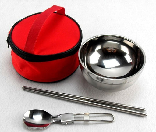Portable Cutlery Set - Folding Spoon & Insulated Bowl with Bag