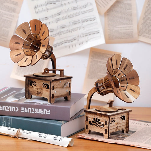 Wooden DIY Phonograph Music Box