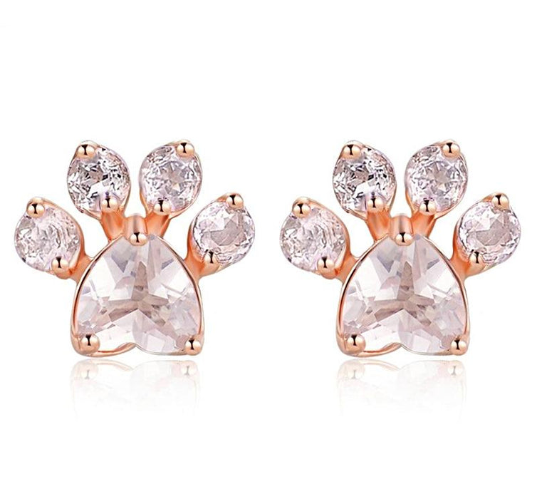 Rose Gold Paw Print Earrings