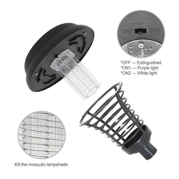 Solar Power Mosquito Repellent Bug Zapper Outdoor Landscape Light