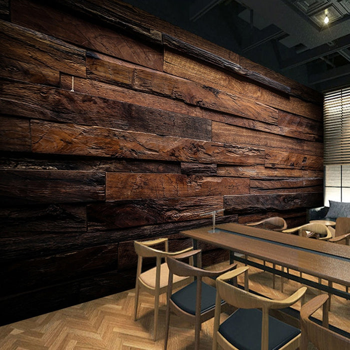 Retro Wood Grain Panels Wallpaper