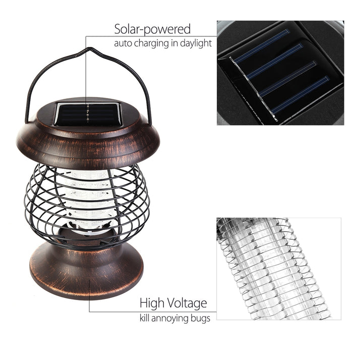 2 in 1 Solar Powered LED UV Light Bug Zapper