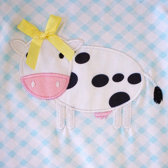 Baby Blue Plaid Appliqued Cow Romper  Close Up Cow Modist Threads  Childrens Online Clothing Boutique and Monogramming
