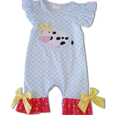 Baby Blue Plaid Appliqued Cow Romper Modist Threads  Childrens Online Clothing Boutique and Monogramming