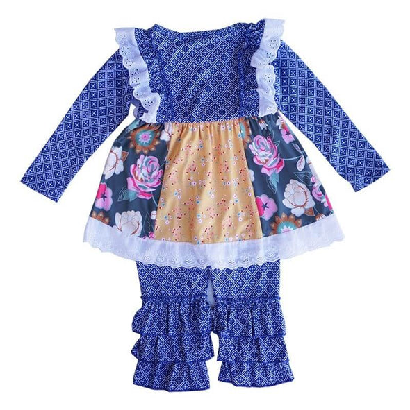 Blue Floral Motif Print Outfit Back Modist Threads Online Childrens Clothing Boutique and Monogramming