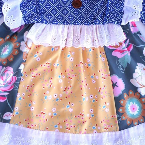 Blue Floral Motif Print Outfit Front Close Up Modist Threads Online Childrens Clothing Boutique and Monogramming