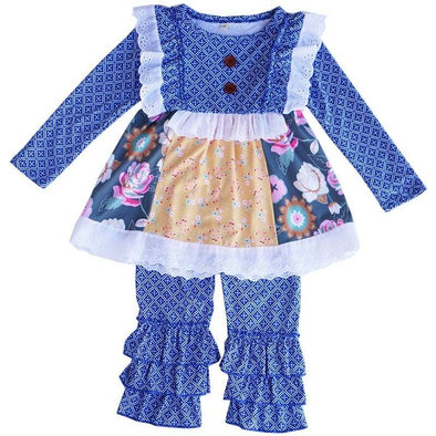 Blue Floral Motif Print Outfit Front Modist Threads Online Childrens Clothing Boutique and Monogramming