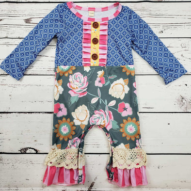 Blue Floral and Motif Baby Romper  Modist Threads Childrens Online Clothing Boutique and Monogramming (1)