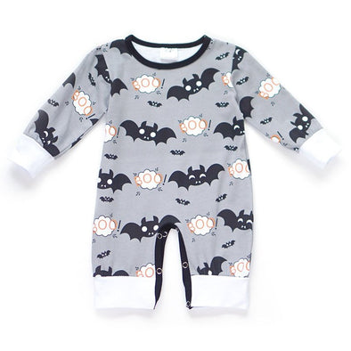 Boys Halloween Bat Romper Front Modist Threads Childrens Boutique and Embroidery