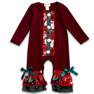 Burgundy Floral Mistletoe Button Romper