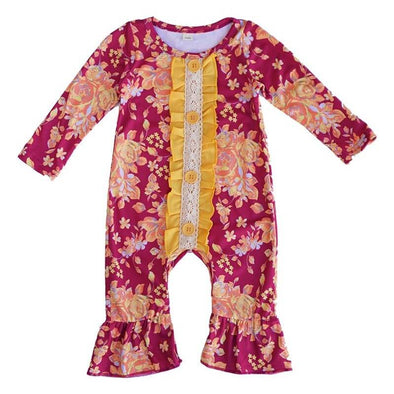 Button Floral Ruffled Baby Romper Front Modist Threads Childrens Boutique and Embroidery