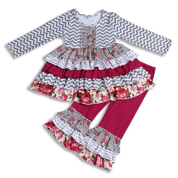 Chevrons and Floral Two Piece Outfit Modist Threads Online Childrens Clothing Boutique and Monogramming