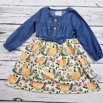 Denim and Floral Pumpkin Patch Dress Front Modist Threads Childrens Boutique and Embroidery