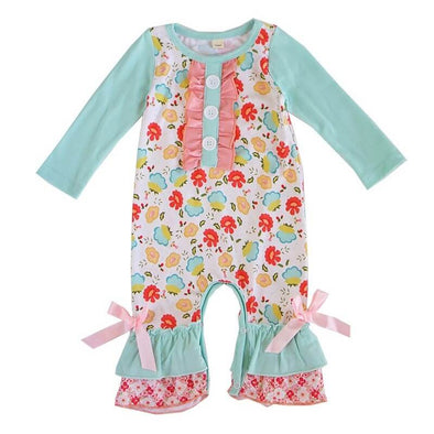 Floral Pink and Turquoise Ruffle Romper Front Modist Threads Childrens Clothing Boutique and Embroidery