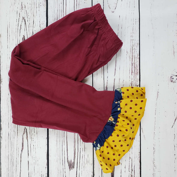 Floral Polka Dot Burgundy Ruffle Set  Pants Close Up Modist Threads Childrens Boutique and Embroidery