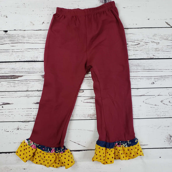 Floral Polka Dot Burgundy Ruffle Set  Pants Modist Threads Childrens Boutique and Embroidery