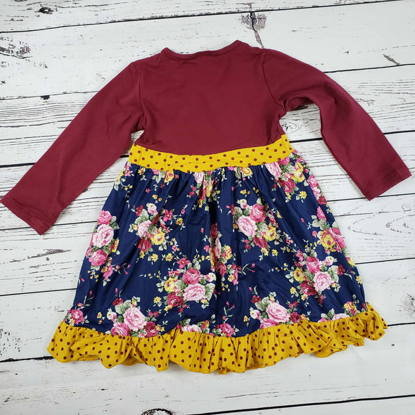 Floral Polka Dot Burgundy Ruffle Set  Top Back Modist Threads Childrens Boutique and Embroidery