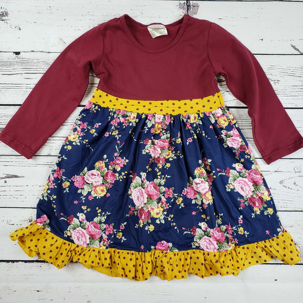 Floral Polka Dot Burgundy Ruffle Set  Top Front Modist Threads Childrens Boutique and Embroidery