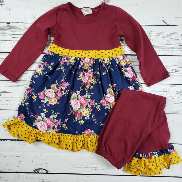 Floral Polka Dot Burgundy Ruffle Set Top and Pants Modist Threads Childrens Boutique and Embroidery