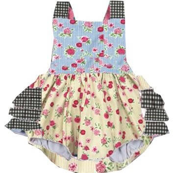Floral and Checkered Baby Bubble Front Modist Threads Online Childrens Clothing Boutique and Monogramming