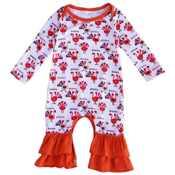 Gobbling Turkey Baby Romper Front  Modist Threads Childrens Clothing Boutique and Embroidery
