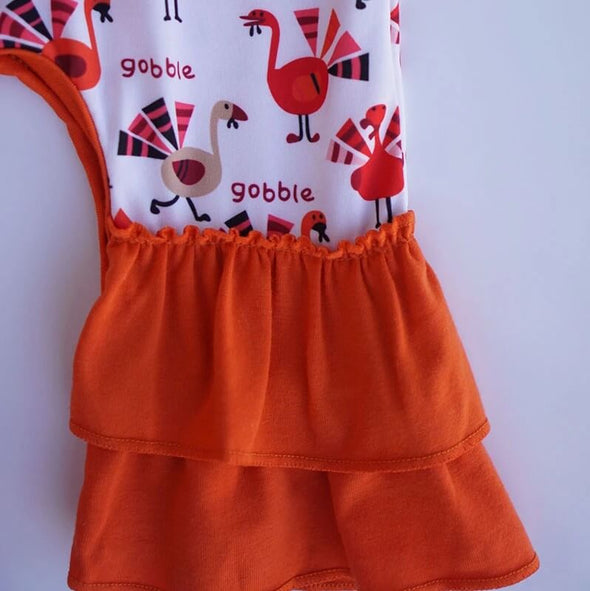 Gobbling Turkey Baby Romper Front Ruffles Modist Threads Childrens Clothing Boutique and Embroidery