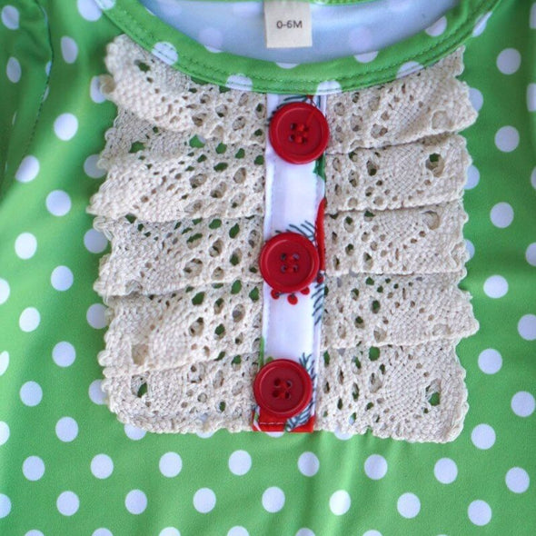 Green Polka Dot Baby Romper Front Buttons Modist Threads Childrens Boutique and Embroidery