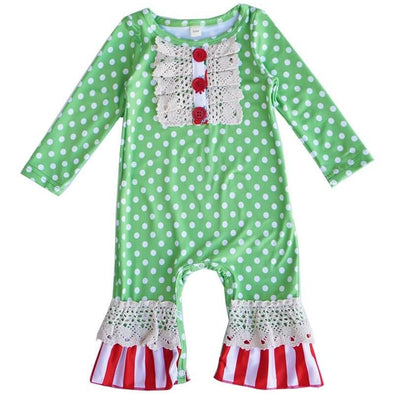 Green Polka Dot Baby Romper Front Modist Threads Childrens Boutique and Embroidery