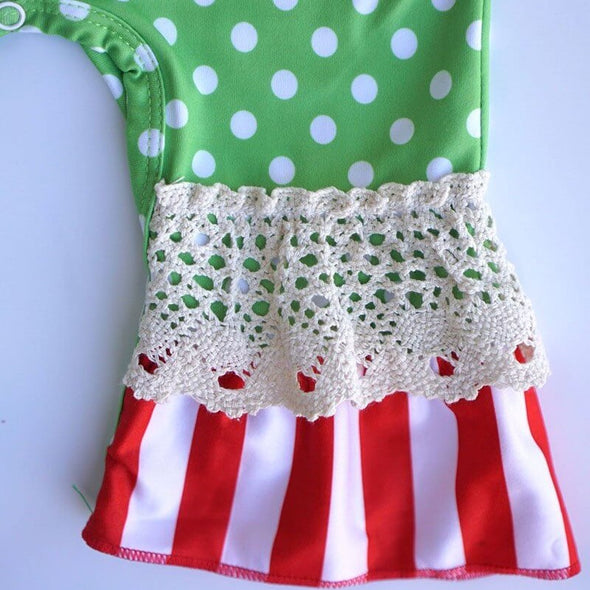Green Polka Dot Baby Romper Lace Ankles Modist Threads Childrens Boutique and Embroidery