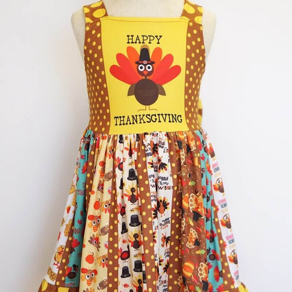 Happy Thanksgiving Turkey Twirl Dress Front Mannequin Modist Threads Childrens Clothing Boutique and Embroidery