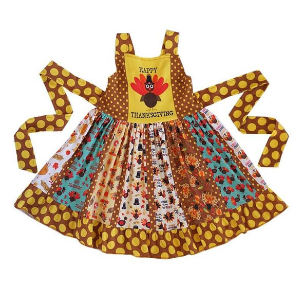 Happy Thanksgiving Turkey Twirl Dress Front Modist Threads Childrens Clothing Boutique and Embroidery
