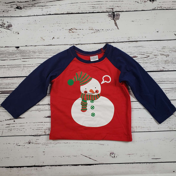 Long Sleeve Snowman Top Front Modist Threads Childrens Boutique and Embroidery