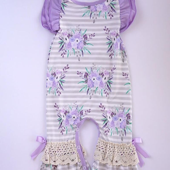Loving Lavender Floral Baby Romper Back Modist Threads Childrens Boutique and Embroidery