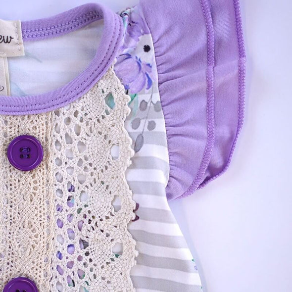 Loving Lavender Floral Baby Romper Chest Lace Modist Threads Childrens Boutique and Embroidery
