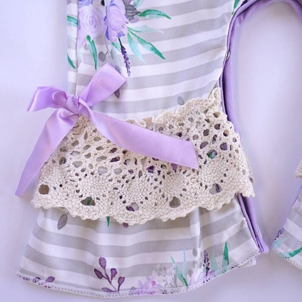 Loving Lavender Floral Baby Romper Lace Legs Modist Threads Childrens Boutique and Embroidery