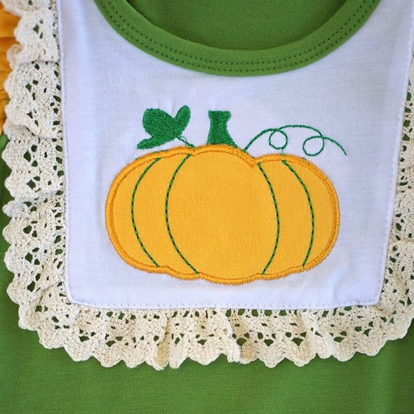 My Little Applique Pumpkin Baby Romper Front Close Up Modist Threads Childrens Clothing and Monogramming