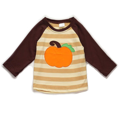 My Little Pumpkin Striped Applique Top Modist Threads Online Childrens Clothing Boutique and Monogramming