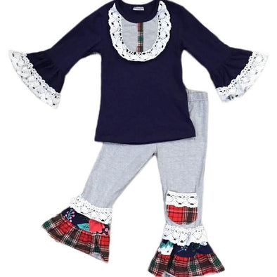 Navy Plaid and Ruffles Set Modist Threads Childrens Online Clothing Boutique and Monogramming