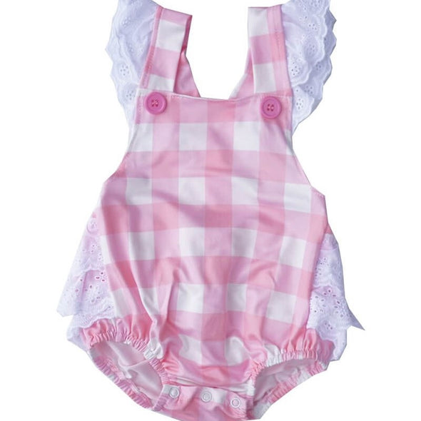 Pink Plaid Baby Bubble Front Modist Threads Childrens Clothing Boutique and Monogramming