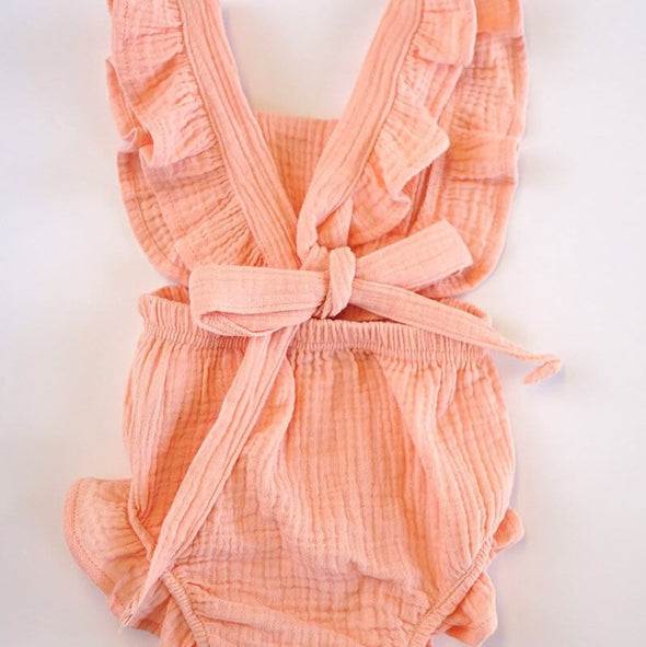 Pretty In Pink Linen Flutter Ruffle Baby Back Bubble Modist Threads Online Childrens Clothing Boutique and Monogramming