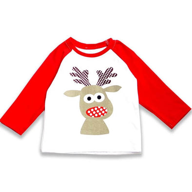 Raglan Christmas Reindeer Top Modist Threads Online Childrens Clothing Boutique and Monogramming