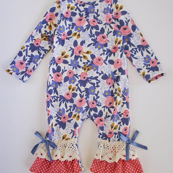 Ruffled Blue Floral Baby Romper Back Modist Threads Childrens Online Clothing Boutique and Monogramming