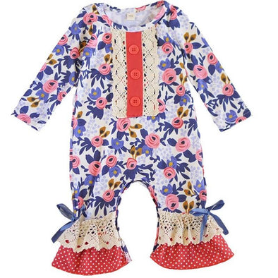 Ruffled Blue Floral Baby Romper Front Modist Threads Childrens Online Clothing Boutique and Monogramming