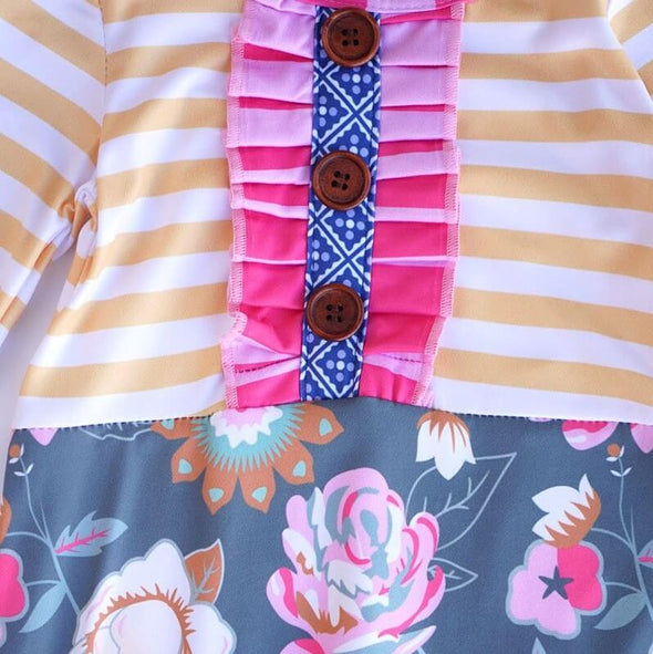 Stripes and Floral Button Baby Romper Close Up Modist Threads Childrens Boutique and Embroidery (1)