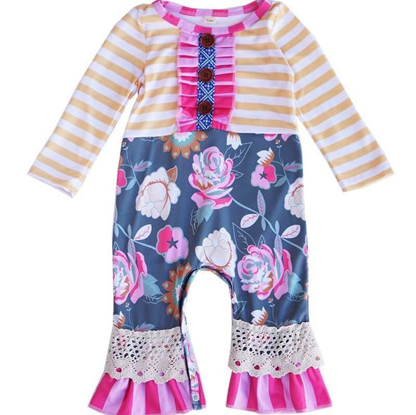 Stripes and Floral Button Baby Romper Modist Threads Childrens Boutique and Embroidery
