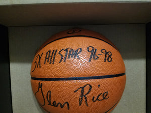 "Glen Rice Autographed Basketball ""3x All Star"" Inscribed RARE w/ COA"