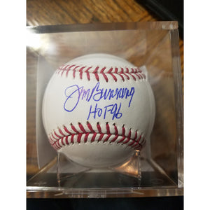 Jim Bunning HOF 96 Inscribed Autographed Baseball With COA And Display