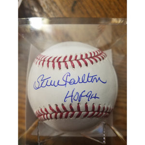 Steve Carlton HOF 94 Inscribed Autographed Baseball w/ COA and Display