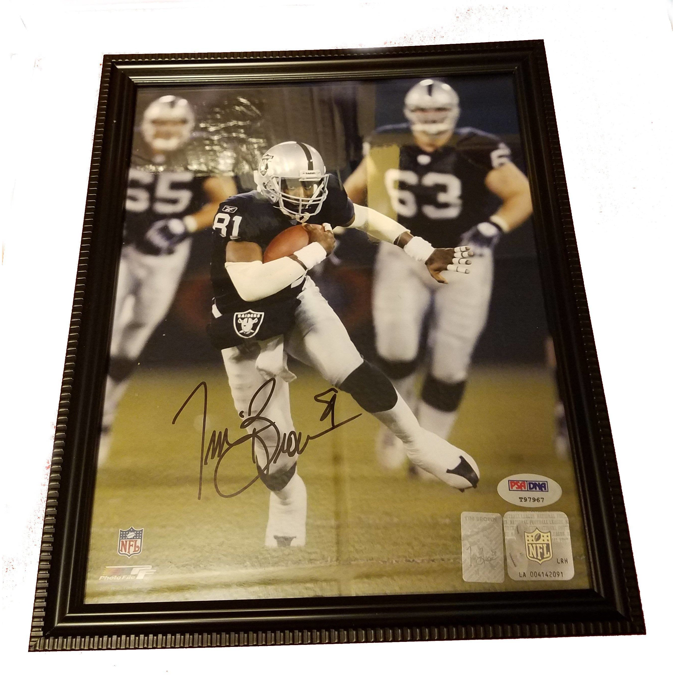 Tim Brown Autographed 8x10 Framed Photo COA Oakland Raiders HOF