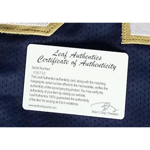 Tim Brown Autographed Notre Dame College Jersey Leaf COA Heisman